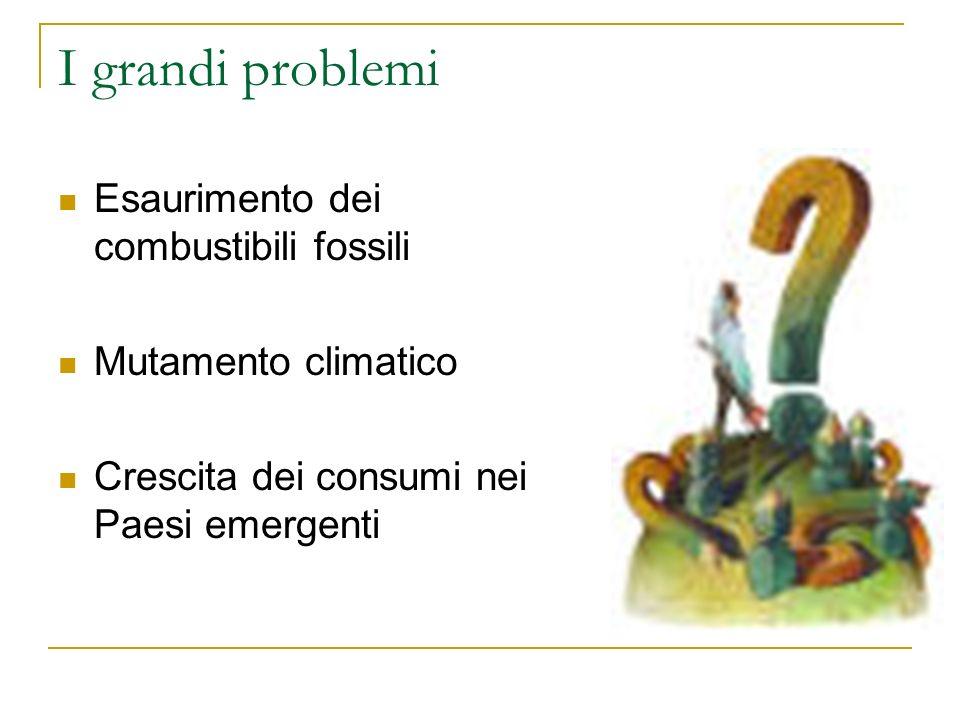 I grandi problemi Esaurimento dei combustibili fossili Mutamento climatico Crescita dei consumi nei Paesi emergenti