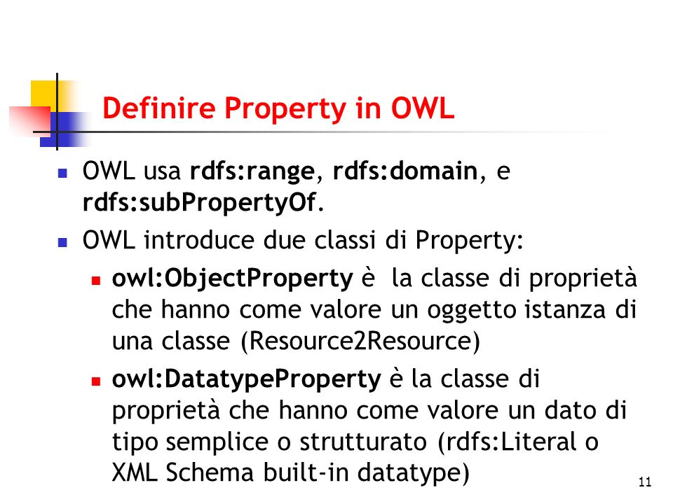 11 Definire Property in OWL OWL usa rdfs:range, rdfs:domain, e rdfs:subPropertyOf.