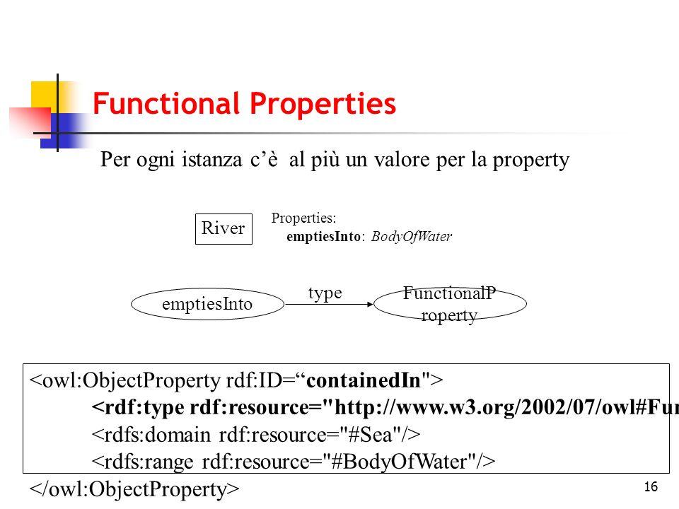 16 River Properties: emptiesInto: BodyOfWater Per ogni istanza cè al più un valore per la property emptiesInto FunctionalP roperty type Functional Pro