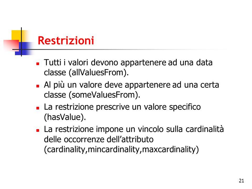 21 Restrizioni Tutti i valori devono appartenere ad una data classe (allValuesFrom). Al più un valore deve appartenere ad una certa classe (someValues
