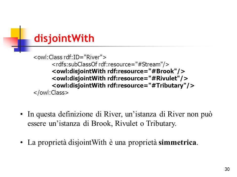30 disjointWith In questa definizione di River, unistanza di River non può essere unistanza di Brook, Rivulet o Tributary. La proprietà disjointWith è