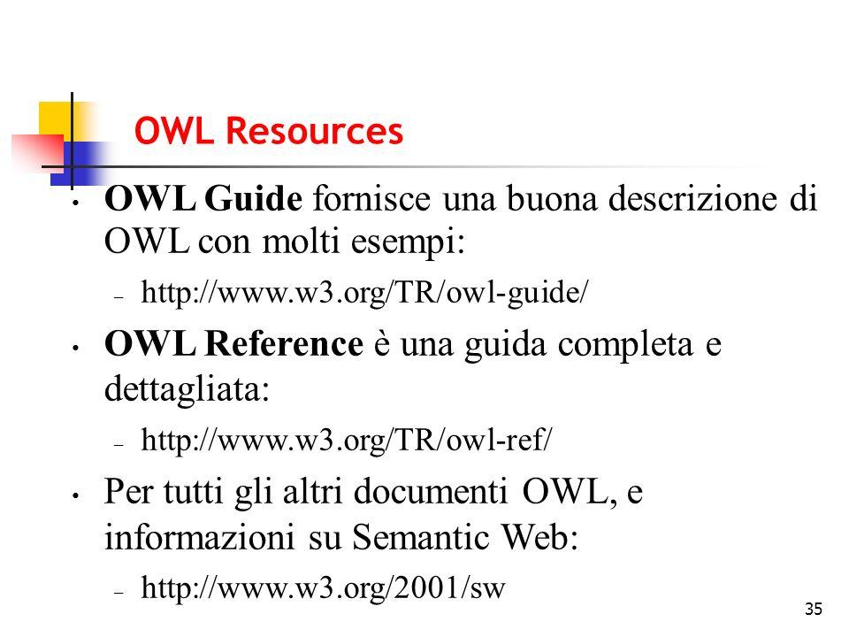 35 OWL Guide fornisce una buona descrizione di OWL con molti esempi: – http://www.w3.org/TR/owl-guide/ OWL Reference è una guida completa e dettagliata: – http://www.w3.org/TR/owl-ref/ Per tutti gli altri documenti OWL, e informazioni su Semantic Web: – http://www.w3.org/2001/sw OWL Resources