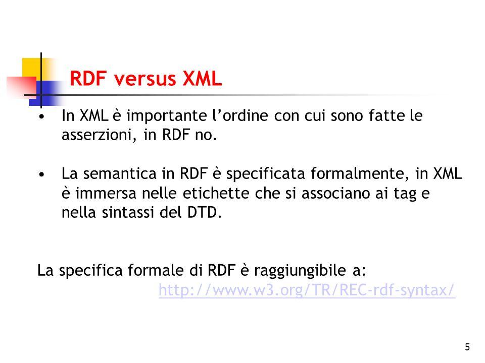 5 RDF versus XML In XML è importante lordine con cui sono fatte le asserzioni, in RDF no. La semantica in RDF è specificata formalmente, in XML è imme