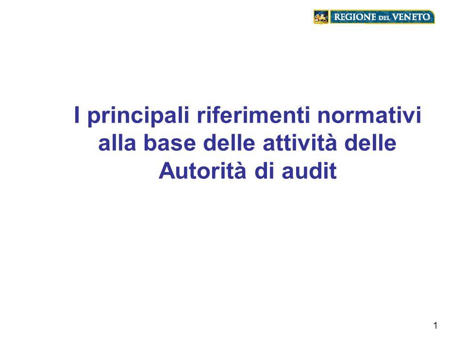 1 I principali riferimenti normativi alla base delle attività delle Autorità di audit