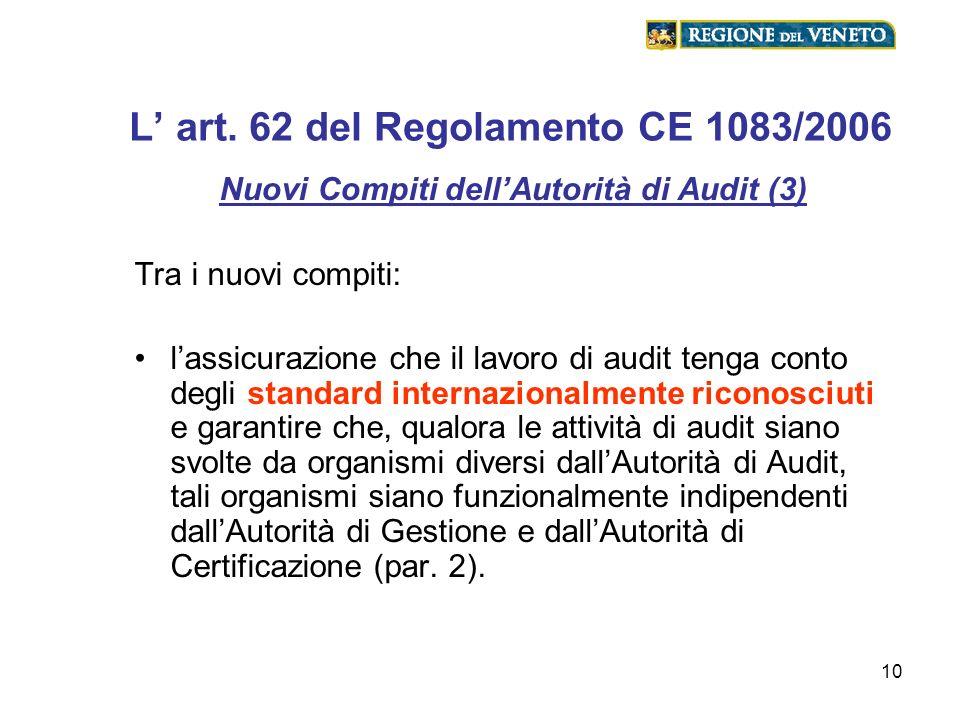 10 L art. 62 del Regolamento CE 1083/2006 Nuovi Compiti dellAutorità di Audit (3) Tra i nuovi compiti: lassicurazione che il lavoro di audit tenga con