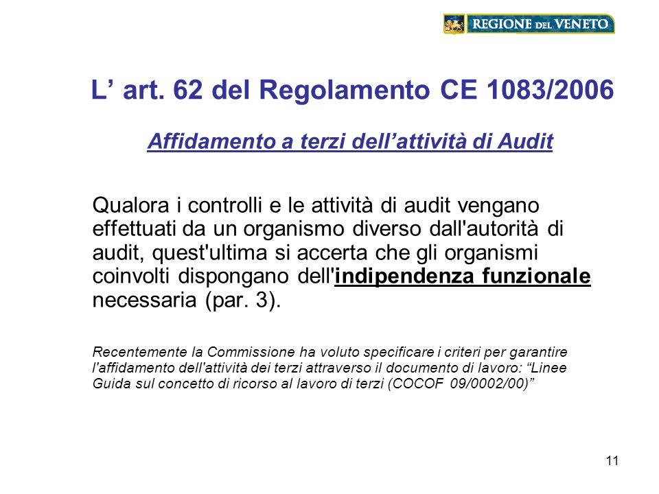 11 L art. 62 del Regolamento CE 1083/2006 Affidamento a terzi dellattività di Audit Qualora i controlli e le attività di audit vengano effettuati da u