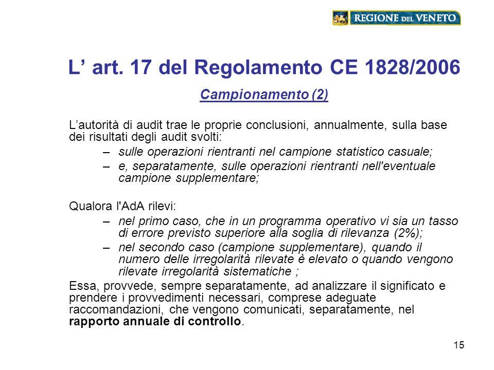 15 L art. 17 del Regolamento CE 1828/2006 Campionamento (2) Lautorità di audit trae le proprie conclusioni, annualmente, sulla base dei risultati degl