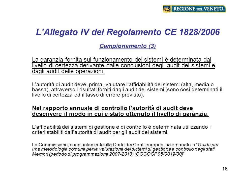 16 LAllegato IV del Regolamento CE 1828/2006 Campionamento (3) La garanzia fornita sul funzionamento dei sistemi è determinata dal livello di certezza