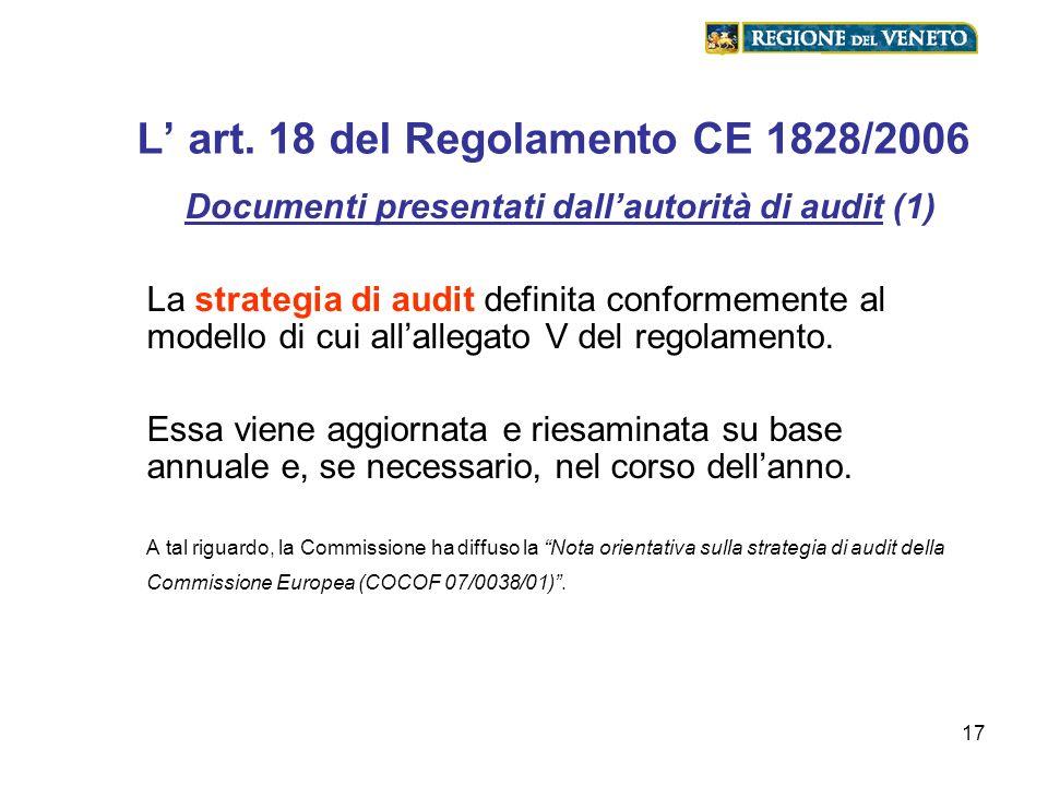 17 L art. 18 del Regolamento CE 1828/2006 Documenti presentati dallautorità di audit (1) La strategia di audit definita conformemente al modello di cu