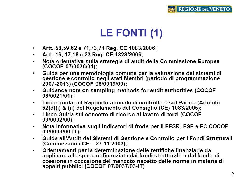 2 LE FONTI (1) Artt. 58,59,62 e 71,73,74 Reg. CE 1083/2006; Artt. 16, 17,18 e 23 Reg. CE 1828/2006; Nota orientativa sulla strategia di audit della Co