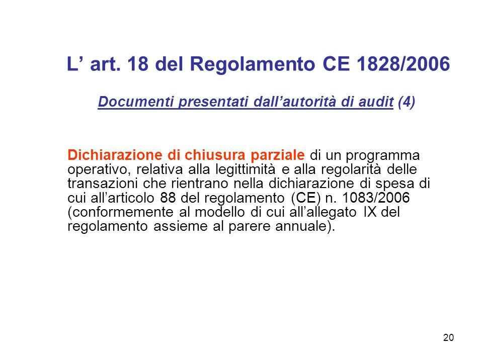 20 L art. 18 del Regolamento CE 1828/2006 Documenti presentati dallautorità di audit (4) Dichiarazione di chiusura parziale di un programma operativo,