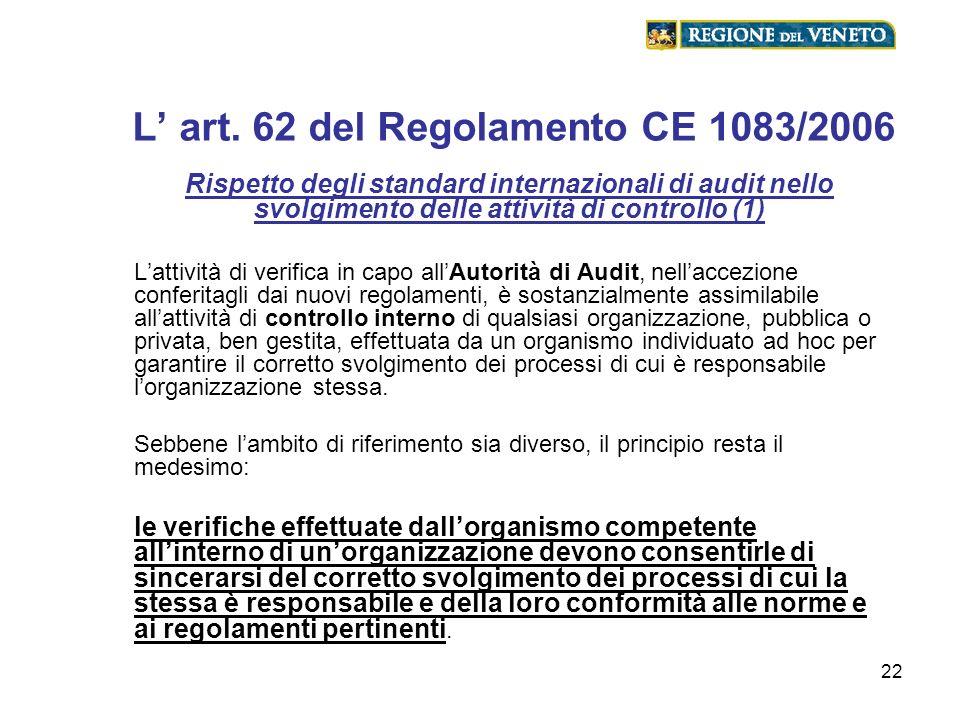 22 L art. 62 del Regolamento CE 1083/2006 Rispetto degli standard internazionali di audit nello svolgimento delle attività di controllo (1) Lattività
