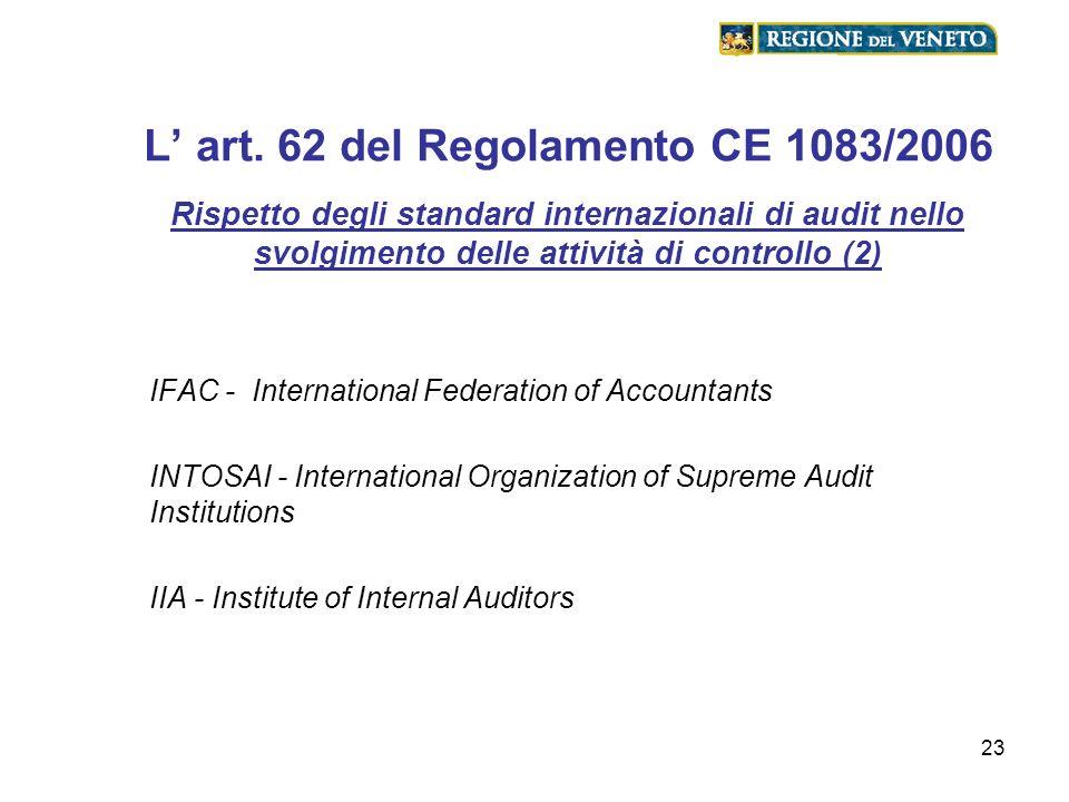 23 L art. 62 del Regolamento CE 1083/2006 Rispetto degli standard internazionali di audit nello svolgimento delle attività di controllo (2) IFAC - Int
