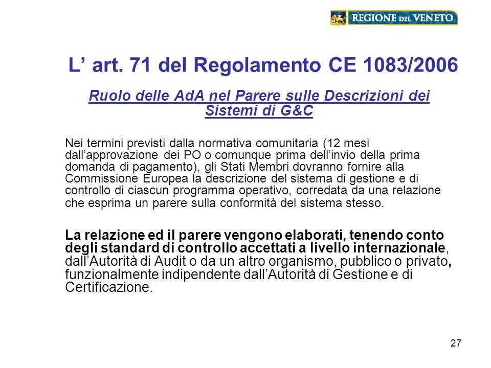27 L art. 71 del Regolamento CE 1083/2006 Ruolo delle AdA nel Parere sulle Descrizioni dei Sistemi di G&C Nei termini previsti dalla normativa comunit