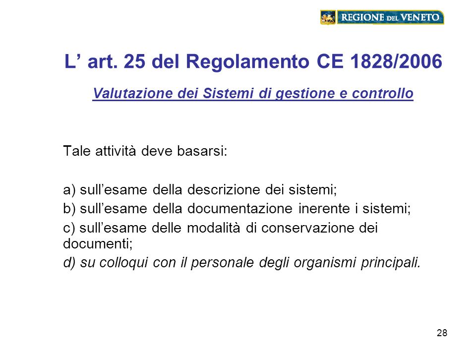 28 L art. 25 del Regolamento CE 1828/2006 Valutazione dei Sistemi di gestione e controllo Tale attività deve basarsi: a) sullesame della descrizione d