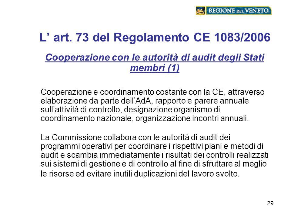 29 L art. 73 del Regolamento CE 1083/2006 Cooperazione con le autorità di audit degli Stati membri (1) Cooperazione e coordinamento costante con la CE