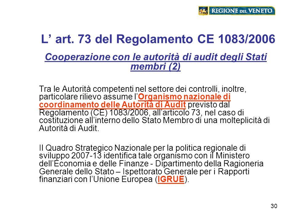 30 L art. 73 del Regolamento CE 1083/2006 Cooperazione con le autorità di audit degli Stati membri (2) Tra le Autorità competenti nel settore dei cont