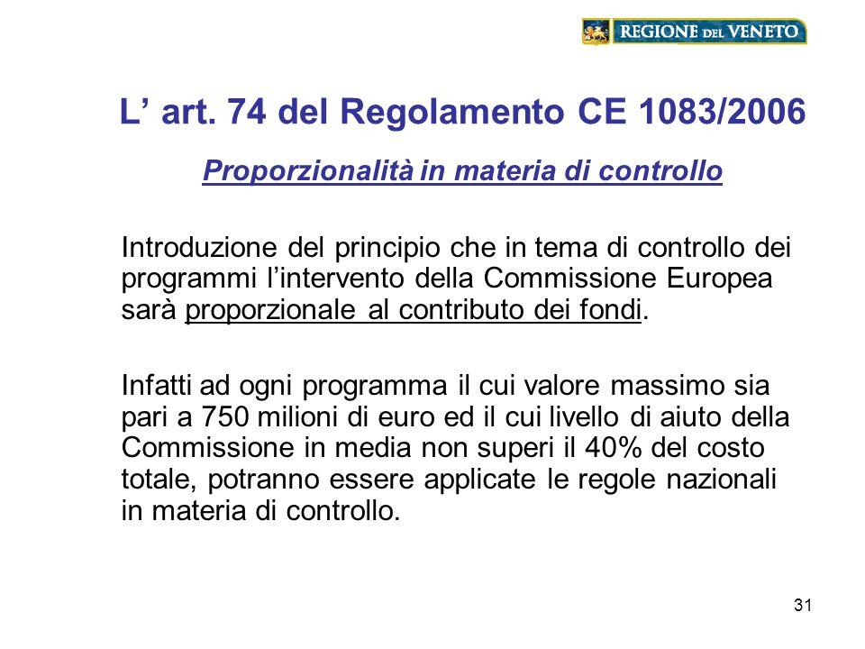 31 L art. 74 del Regolamento CE 1083/2006 Proporzionalità in materia di controllo Introduzione del principio che in tema di controllo dei programmi li