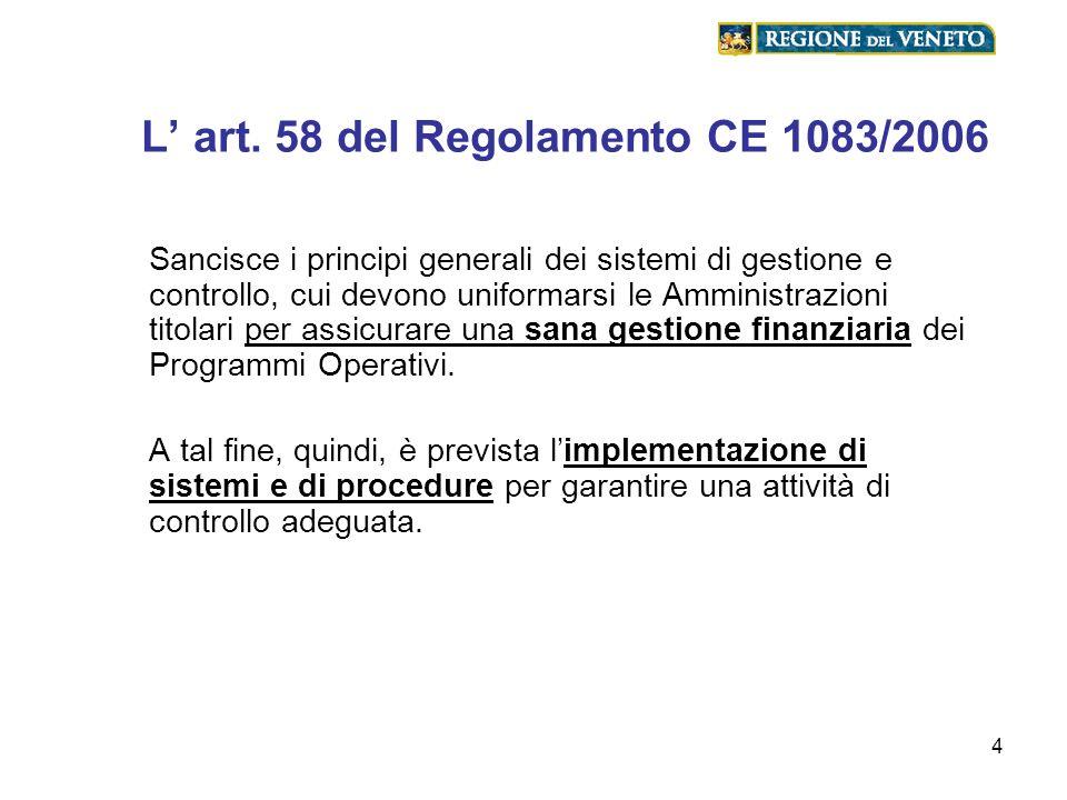 4 L art. 58 del Regolamento CE 1083/2006 Sancisce i principi generali dei sistemi di gestione e controllo, cui devono uniformarsi le Amministrazioni t