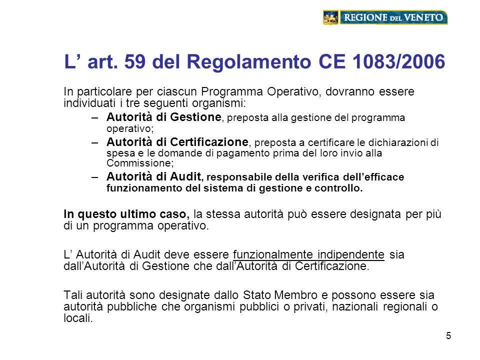 5 L art. 59 del Regolamento CE 1083/2006 In particolare per ciascun Programma Operativo, dovranno essere individuati i tre seguenti organismi: –Autori