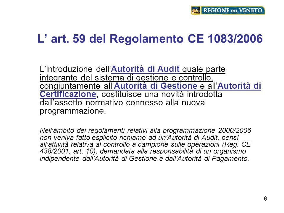 6 L art. 59 del Regolamento CE 1083/2006 Lintroduzione dellAutorità di Audit quale parte integrante del sistema di gestione e controllo, congiuntament