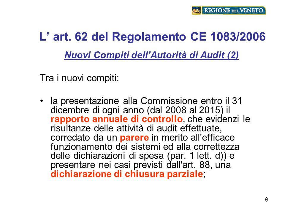 9 L art. 62 del Regolamento CE 1083/2006 Nuovi Compiti dellAutorità di Audit (2) Tra i nuovi compiti: la presentazione alla Commissione entro il 31 di