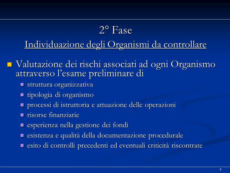 8 3° Fase Svolgimento dei controlli Analisi desk della documentazione sullorganismo da controllare diretta a comprendere Analisi desk della documentazione sullorganismo da controllare diretta a comprendere lorganizzazione lorganizzazione le procedure le procedure