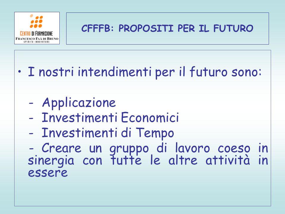 CFFFB: PROPOSITI PER IL FUTURO I nostri intendimenti per il futuro sono: - Applicazione - Investimenti Economici - Investimenti di Tempo - Creare un g