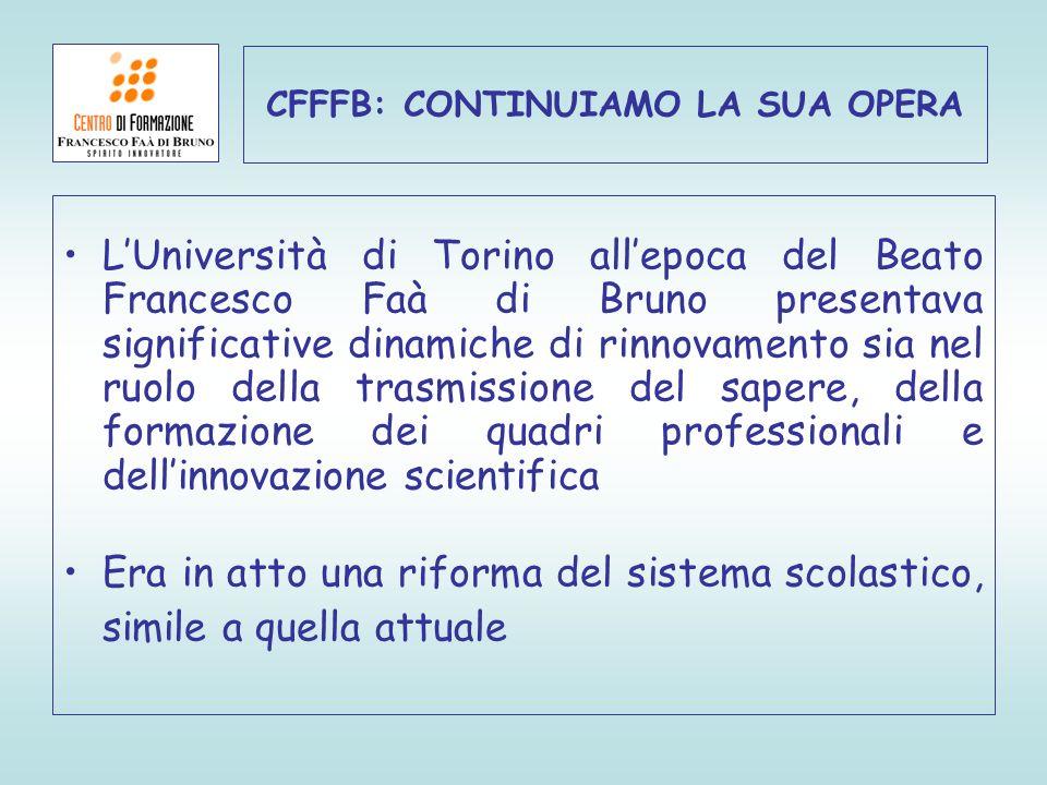 LUniversità di Torino allepoca del Beato Francesco Faà di Bruno presentava significative dinamiche di rinnovamento sia nel ruolo della trasmissione de