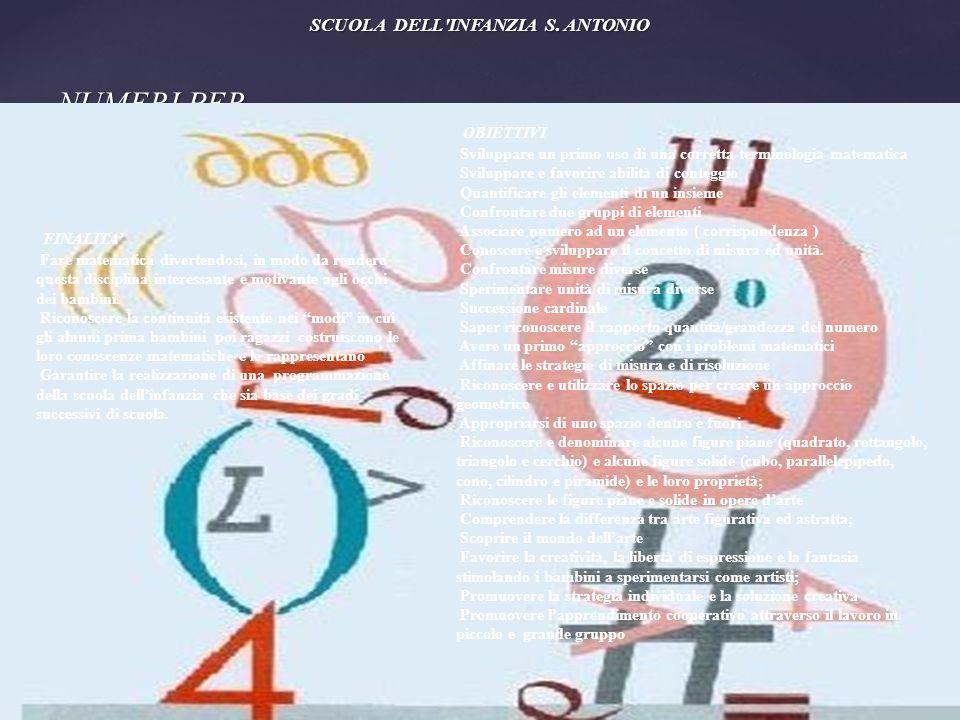 NUMERI PER......... SCUOLA DELL'INFANZIA S. ANTONIO FINALITA Fare matematica divertendosi, in modo da rendere questa disciplina interessante e motivan