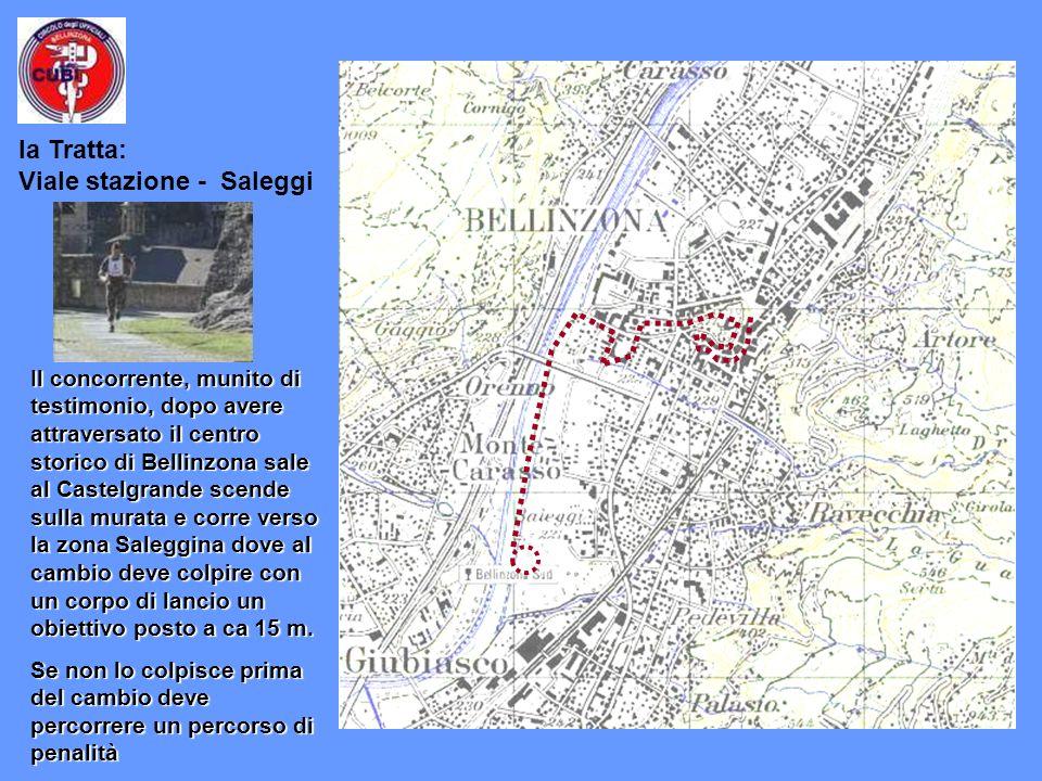 Il concorrente, munito di testimonio, dopo avere attraversato il centro storico di Bellinzona sale al Castelgrande scende sulla murata e corre verso la zona Saleggina dove al cambio deve colpire con un corpo di lancio un obiettivo posto a ca 15 m.