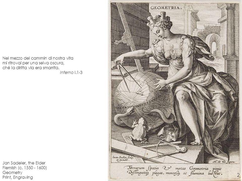 Jan Sadeler, the Elder Flemish (c. 1550 - 1600) Geometry Print, Engraving Nel mezzo del cammin di nostra vita mi ritrovai per una selva oscura, ché la