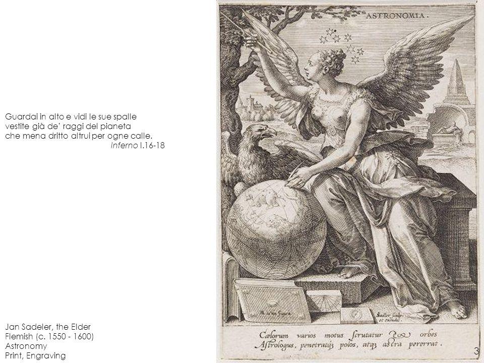 Jan Sadeler, the Elder Flemish (c. 1550 - 1600) Astronomy Print, Engraving Guardai in alto e vidi le sue spalle vestite già de raggi del pianeta che m