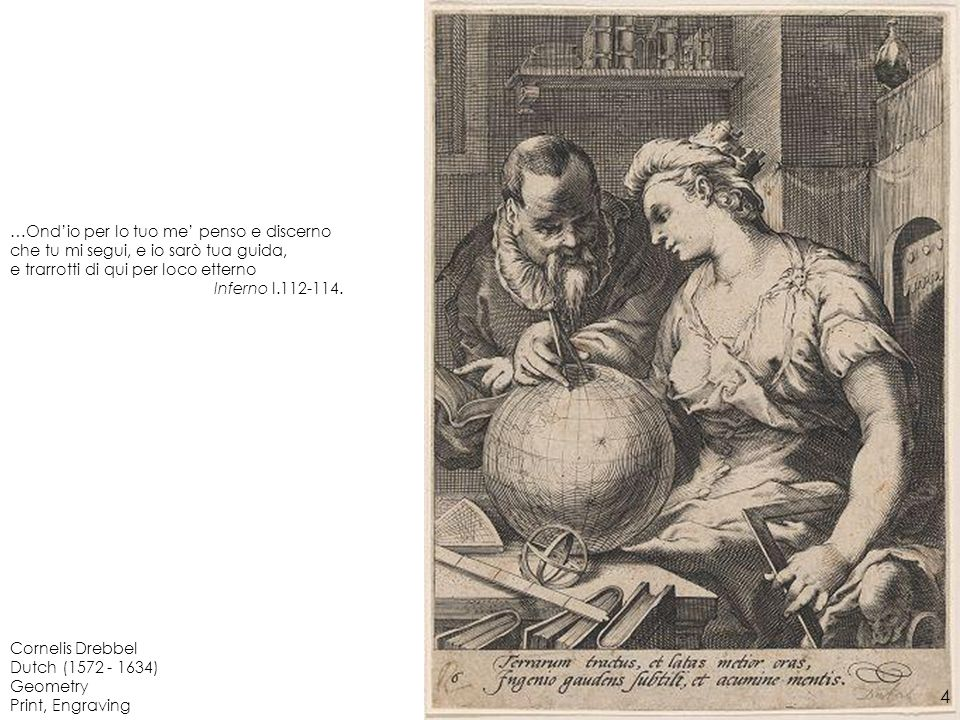 Cornelis Drebbel Dutch (1572 - 1634) Geometry Print, Engraving …Ondio per lo tuo me penso e discerno che tu mi segui, e io sarò tua guida, e trarrotti