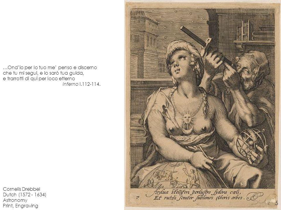 Cornelis Drebbel Dutch (1572 - 1634) Astronomy Print, Engraving …Ondio per lo tuo me penso e discerno che tu mi segui, e io sarò tua guida, e trarrott
