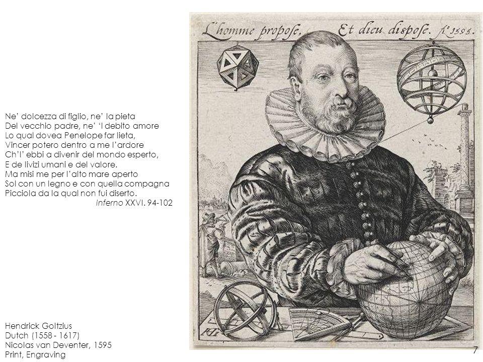 Hendrick Goltzius Dutch (1558 - 1617) The Great Hercules, 1589 Print, Engraving Io e compagni eravam vecchi e tardi Quando venimmo a quella foce stretta DovErcule segno li suoi riquardi, Accio che luom piuoltre non si metta.