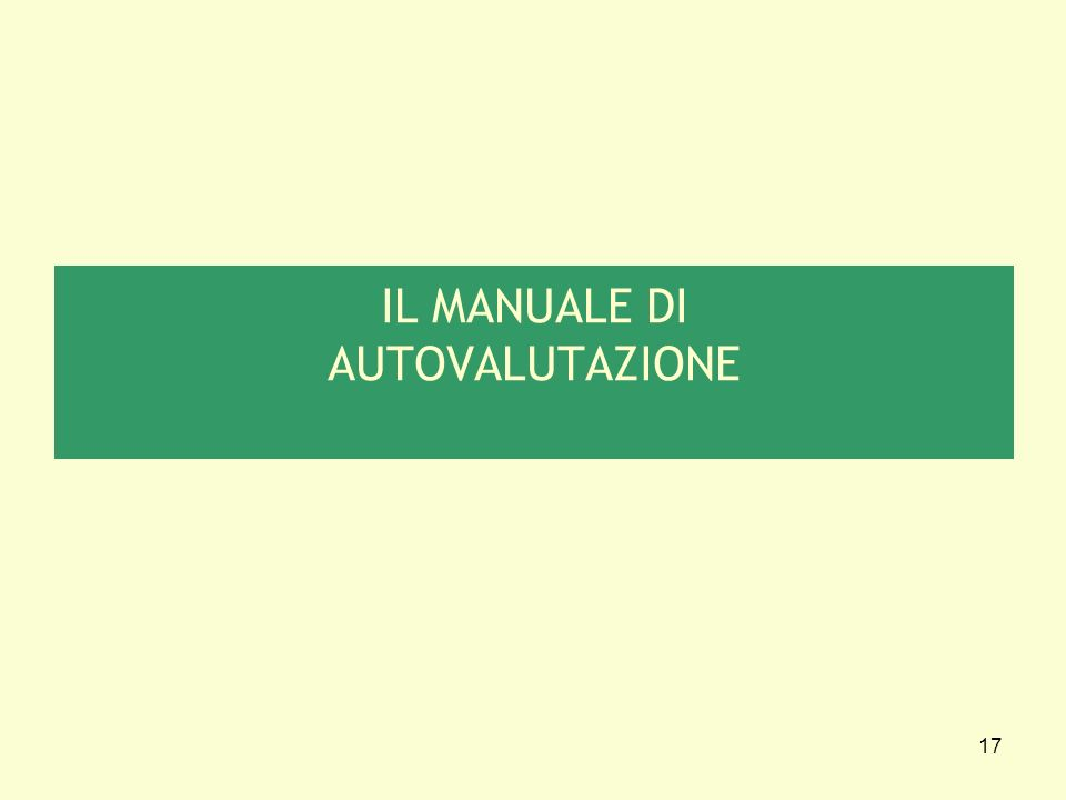 17 IL MANUALE DI AUTOVALUTAZIONE