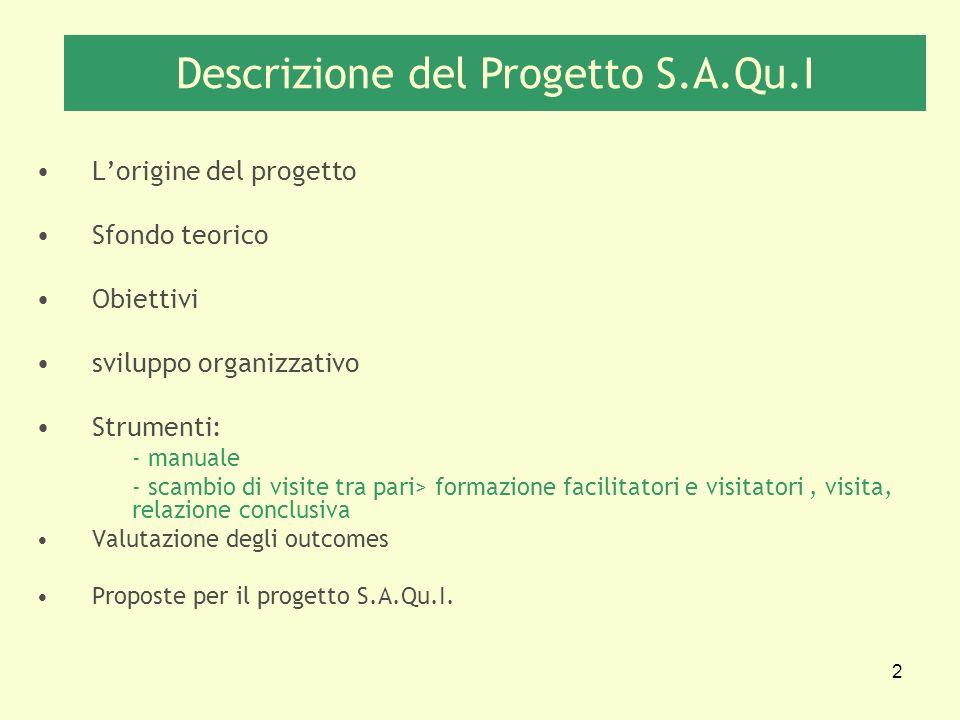 2 Lorigine del progetto Sfondo teorico Obiettivi sviluppo organizzativo Strumenti: - manuale - scambio di visite tra pari> formazione facilitatori e v