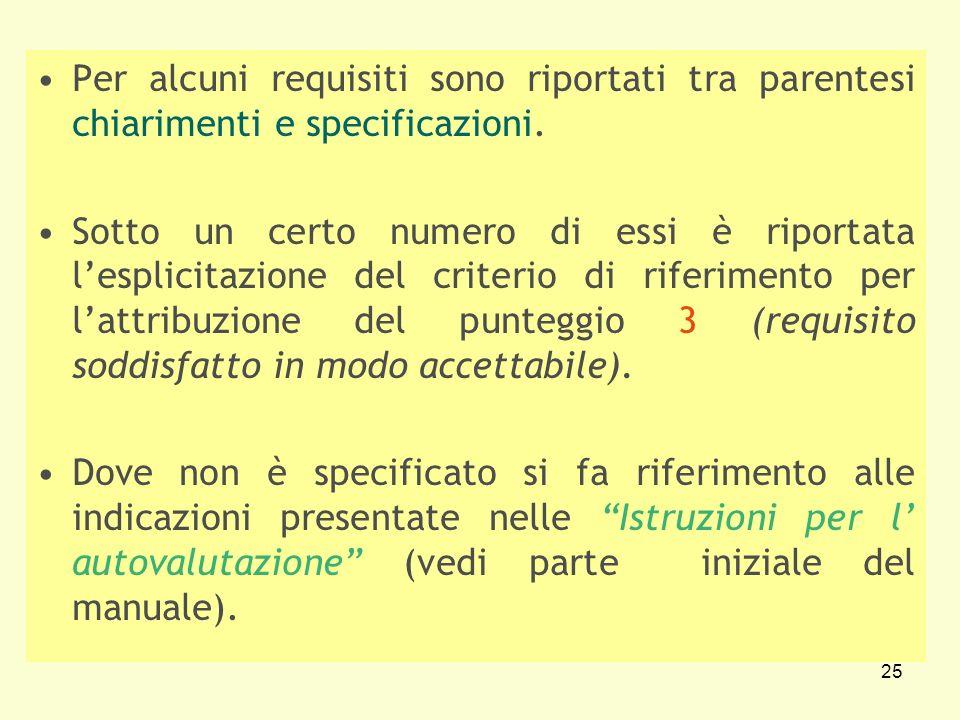 25 Per alcuni requisiti sono riportati tra parentesi chiarimenti e specificazioni. Sotto un certo numero di essi è riportata lesplicitazione del crite