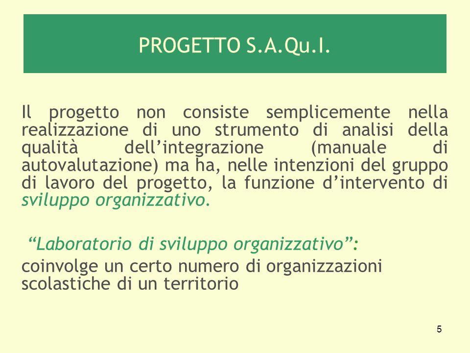 5 PROGETTO S.A.Qu.I. Il progetto non consiste semplicemente nella realizzazione di uno strumento di analisi della qualità dellintegrazione (manuale di