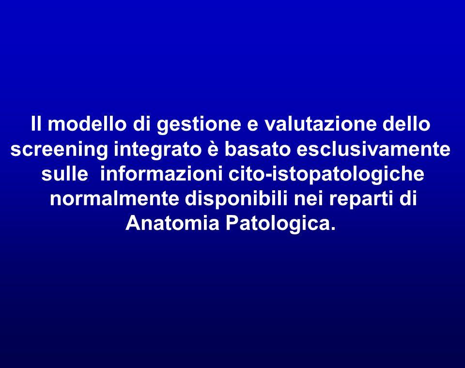 Il modello di gestione e valutazione dello screening integrato è basato esclusivamente sulle informazioni cito-istopatologiche normalmente disponibili