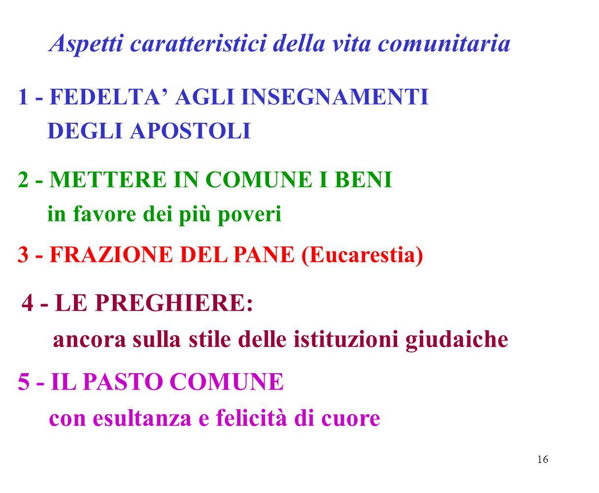 16 Aspetti caratteristici della vita comunitaria 1 - FEDELTA AGLI INSEGNAMENTI DEGLI APOSTOLI 2 - METTERE IN COMUNE I BENI in favore dei più poveri 3