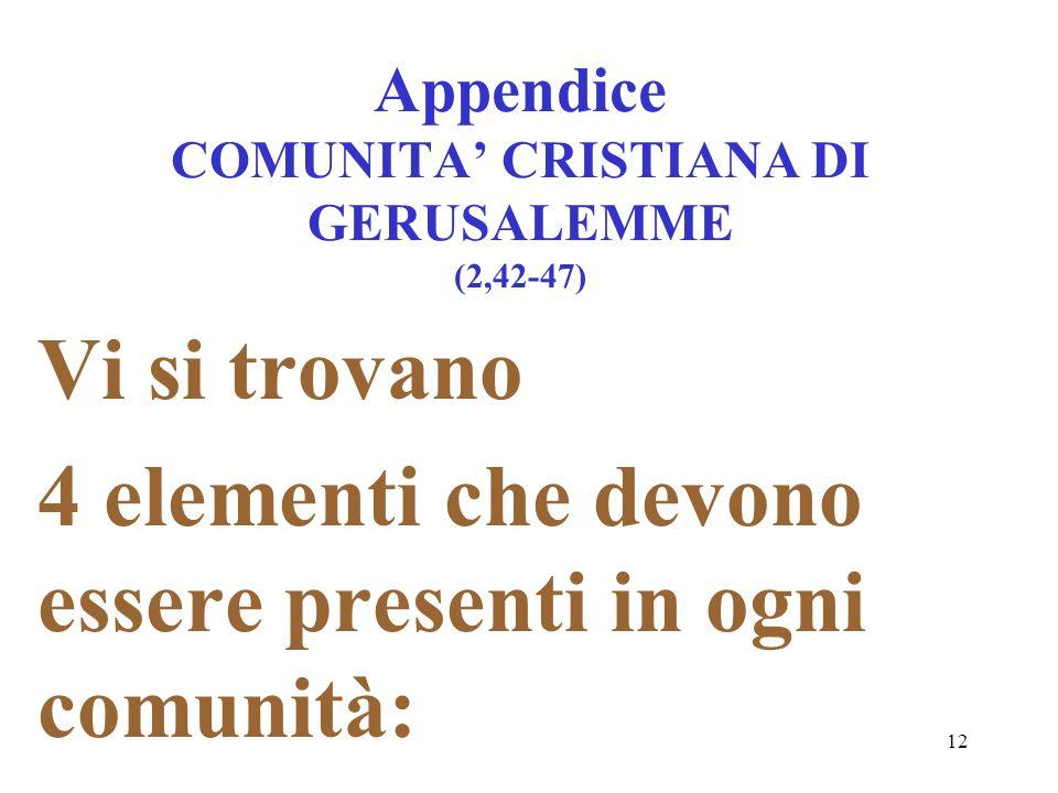 12 Appendice COMUNITA CRISTIANA DI GERUSALEMME (2,42-47) Vi si trovano 4 elementi che devono essere presenti in ogni comunità: