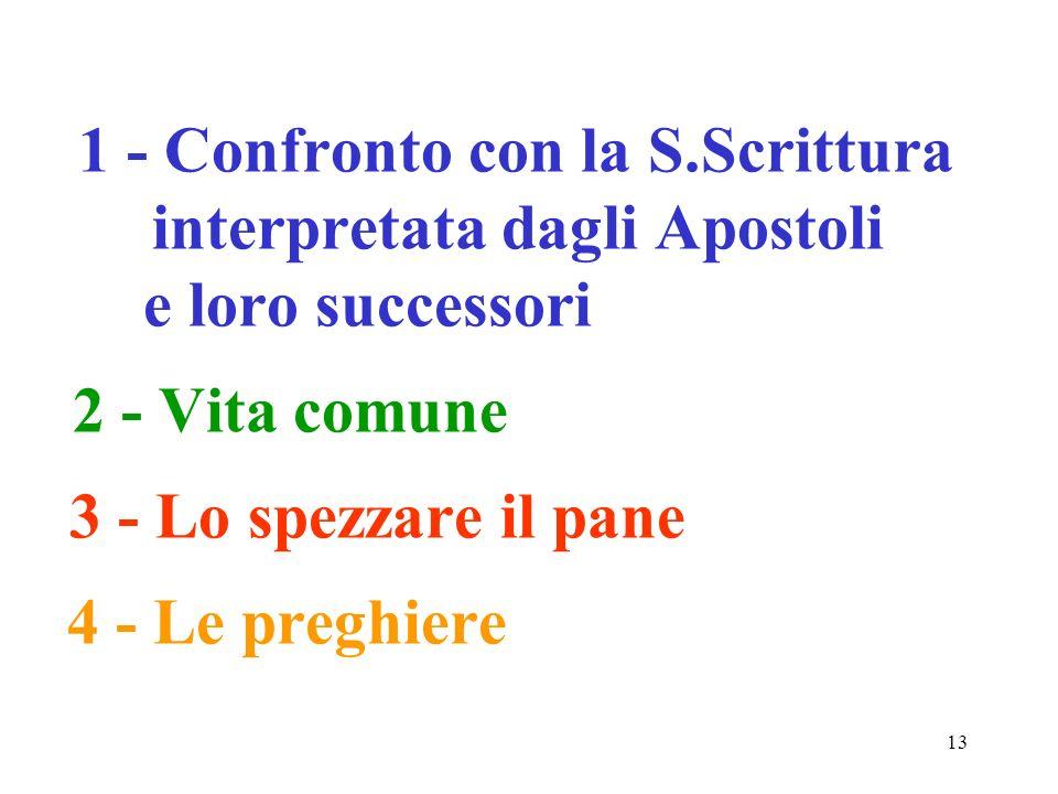 13 1 - Confronto con la S.Scrittura interpretata dagli Apostoli e loro successori 2 - Vita comune 3 - Lo spezzare il pane 4 - Le preghiere