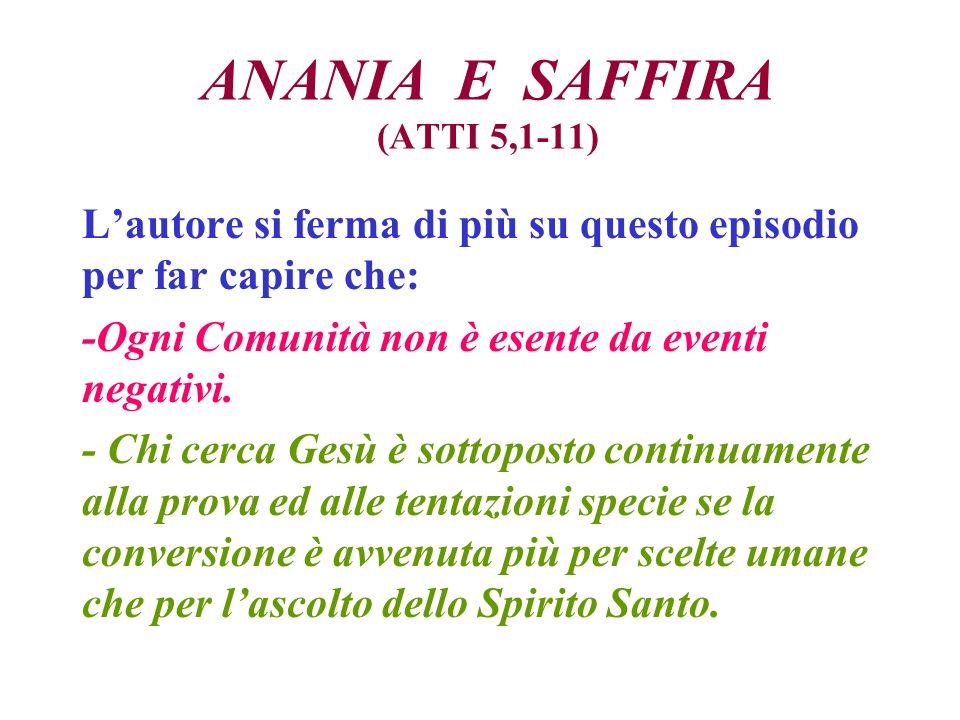 ANANIA E SAFFIRA (ATTI 5,1-11) Lautore si ferma di più su questo episodio per far capire che: -Ogni Comunità non è esente da eventi negativi.