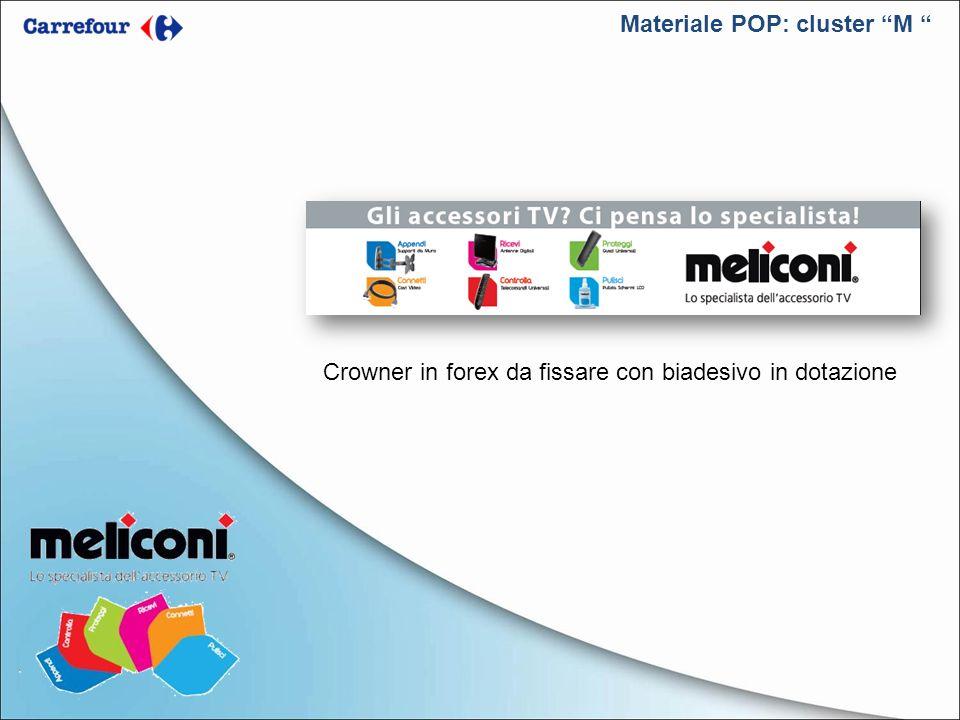 Materiale POP: cluster M Crowner in forex da fissare con biadesivo in dotazione