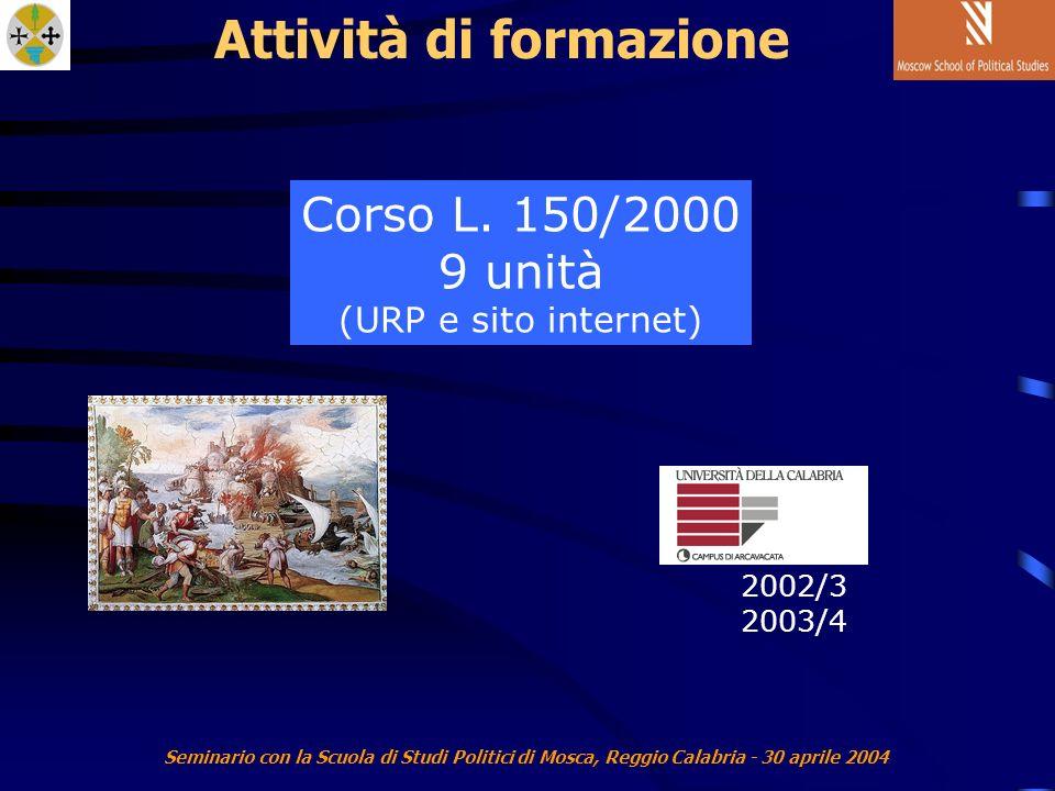 Seminario con la Scuola di Studi Politici di Mosca, Reggio Calabria - 30 aprile 2004 Attività di formazione Corso L.