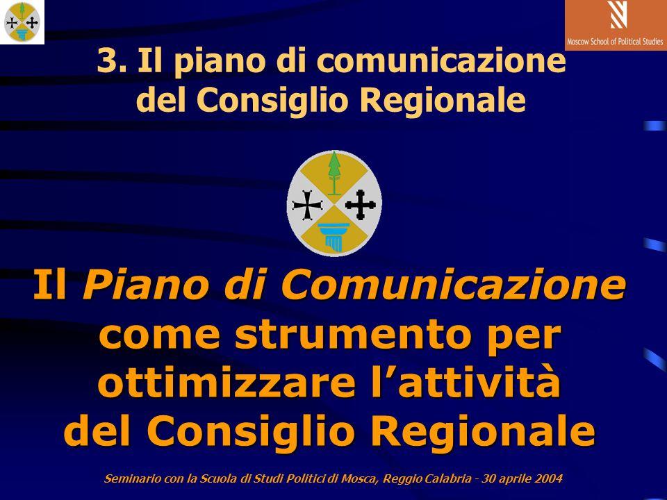 Seminario con la Scuola di Studi Politici di Mosca, Reggio Calabria - 30 aprile 2004 Il Piano di Comunicazione come strumento per ottimizzare lattività del Consiglio Regionale 3.