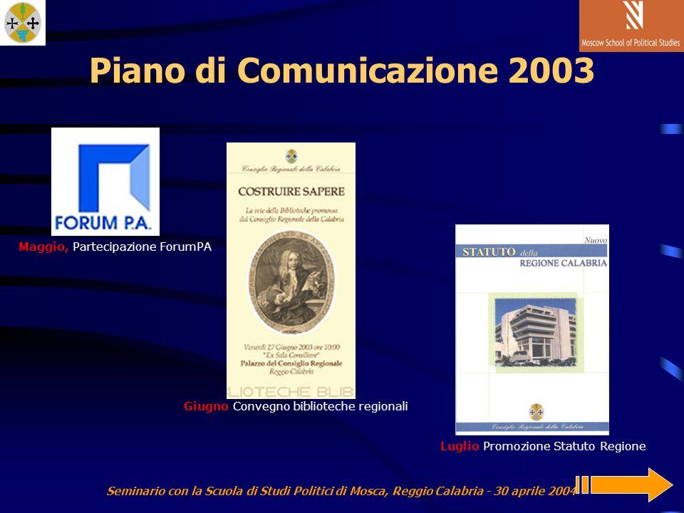 Seminario con la Scuola di Studi Politici di Mosca, Reggio Calabria - 30 aprile 2004 Piano di Comunicazione 2003 Luglio Promozione Statuto Regione Giugno Convegno biblioteche regionali Maggio, Partecipazione ForumPA