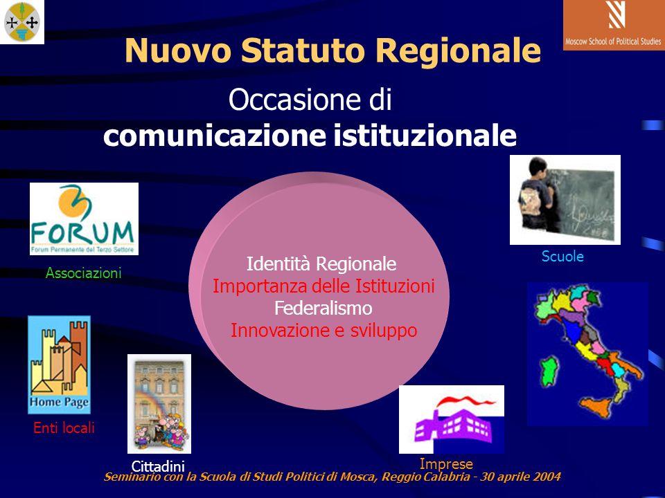 Seminario con la Scuola di Studi Politici di Mosca, Reggio Calabria - 30 aprile 2004 Nuovo Statuto Regionale Occasione di comunicazione istituzionale Identità Regionale Importanza delle Istituzioni Federalismo Innovazione e sviluppo Associazioni Enti localiCittadini Scuole Imprese